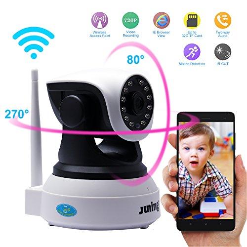 IP Kamera, Juning HD 1280*720 Wireless Überwachungskamera WiFi Sicherheitskamera, 355°/120° schwenkbar Bewegungserkennung, Baby Monitor mit IR-Nachtsicht, Gegensprechanlage MicroSD-Slot Mikrofon, Lautsprecher fernsteuerbar