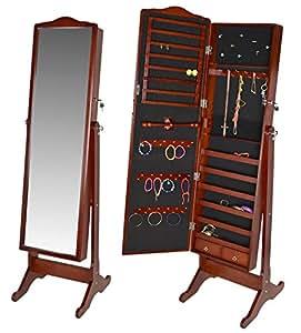 Miroir sur pied armoire bijoux taille xxl 154 cm marron - Miroir sur pied range bijoux ...