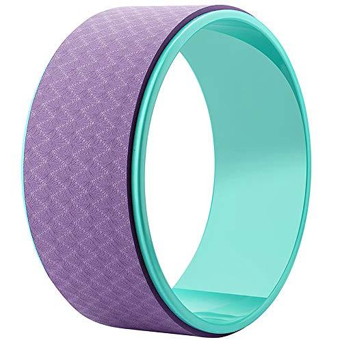 Esoes Yoga Wheel Roller Progettato per Dharma Ruota Yoga Pose, per Stretching e per Migliorare la Postura Backbends Balance Yoga e Pilates Esercizi, Green+Purple, Taglia Unica