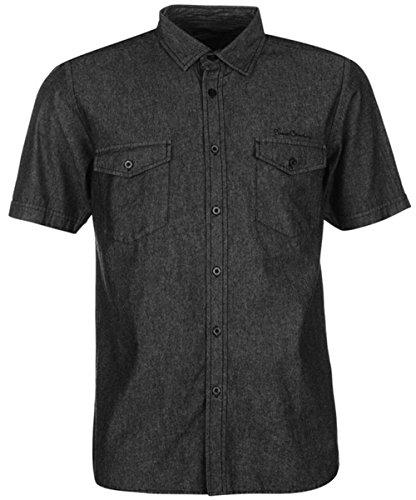mens-everyday-short-sleeves-denim-shirt-top-medium-black