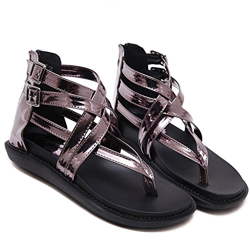 Oasap Women's Open Toe Buckle Flat Thong Gladiator Sandals Black