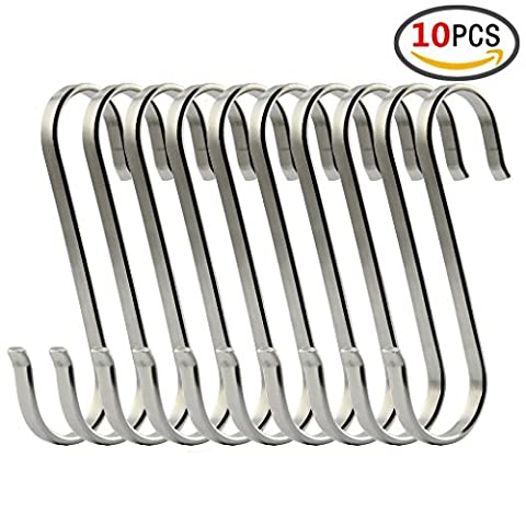 S Hooks Kitchen or office Tools Flat S Shaped Hooks Brushed SUS304 Stainless Steel Metal Kitchen Pot Pan Hanger Storage Hanging Rack-Thick Heavy Duty 10 Pcs Pack (L)