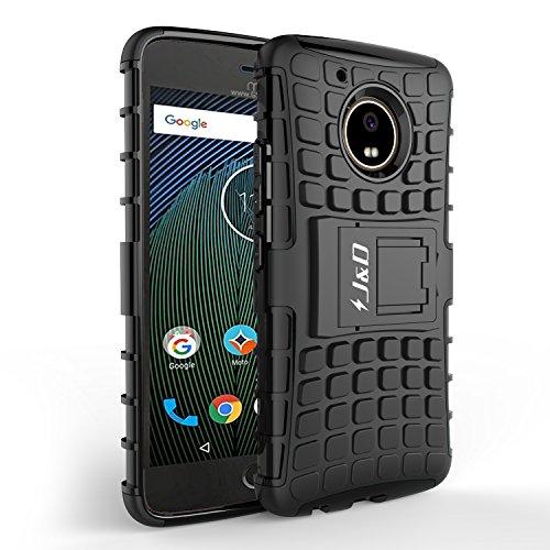 J&D Kompatibel für Moto G5 Plus Hülle, [Standfuß] [Doppelschicht] [Heavy-Duty-Schutz] Genaue Passform Hybride Stoßfest Schutzhülle für Motorola Moto G5 Plus - [Nicht kompatibel mit Moto G5] - Schwarz