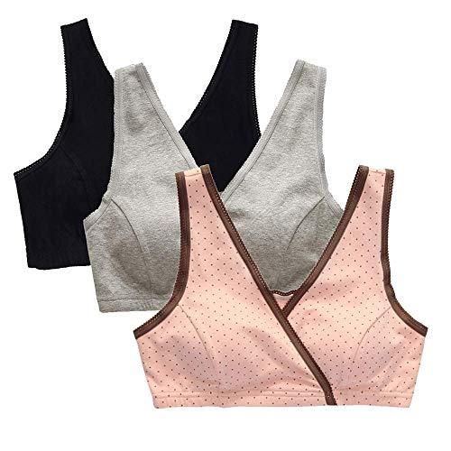 ZUMIY Infermieristica Donne di maternità Reggiseno Allattamento al Seno del Reggiseno di Sonno Black+Grey+Pink DOT/ 3Pack)