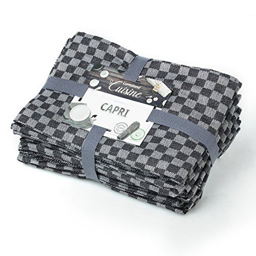Lumaland Geschirrtücher Capri Serie in zwölf Farben 10 Stück pro Set 100% Baumwolle 46 x 70 cm Schwarz - Weiß