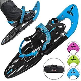 ALPIDEX Schneeschuhe 25 INCH für Schuhgröße 38-45, bis 130 kg, mit Double-Traction Bindung und inklusive Tragetasche - wahlweise mit oder ohne Stöcke erhältlich, Farbe:Blue ohne Stöcke