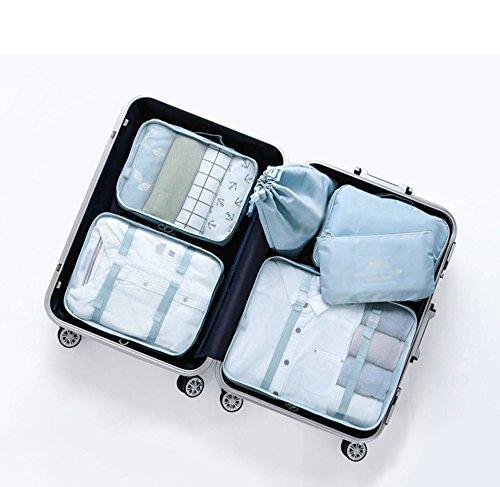 Ysddian- Reise Aufbewahrungstasche Set Koffer Kleidung Finishing Tasche Kleidung Lagerung wasserdicht Unterwäsche Sub-Paket (Farbe : Blue)
