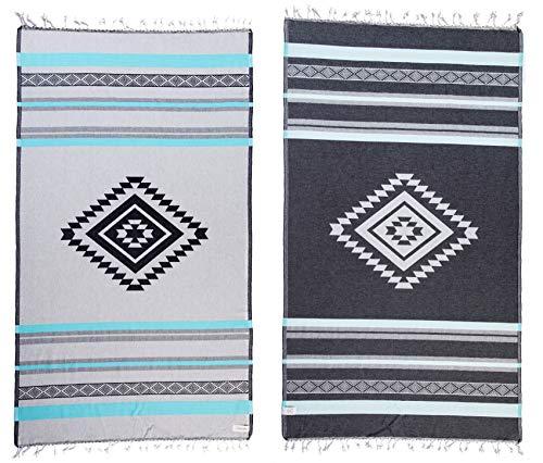 Collezione designer - bersuse certificato 100% cotone organico gots - asciugamano turco peshtemal cancun - pestemal fouta per bagno e spiaggia - azteco boemo - 95x175 cm, aqua/grigio
