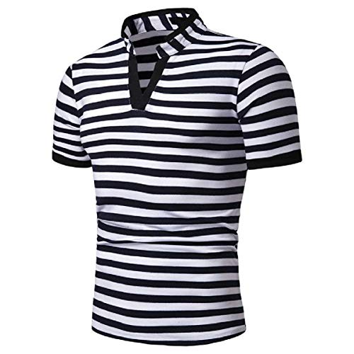 CuteRose Mens Short-Sleeve Comfort Soft V Neck Tops Relaxed-Fit Tee Polo Shirt Navy Blue XL