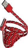 The Kase Paris Câble Plat 30 Broches vers USB en Nylon 1 m Rouge
