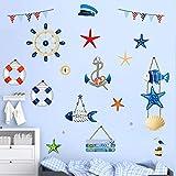 decalmile Stickers Murali Nautiche Marina Militare Ancora Stella Marina Bussola Adesivi Murali per Ragazzi Asilo Nido Camera da Letto per Bambini Decorazione