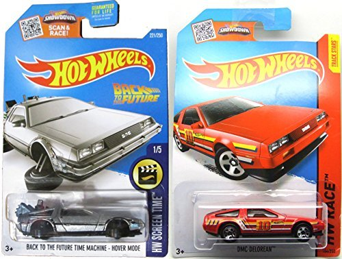 Back to the Future Batman 2016 Car Set Time Machine Hot Wheels Mainline Series Hover Mode Delorean Screen Time & DMC Delorean Race Track Stars #184 by DeLorean