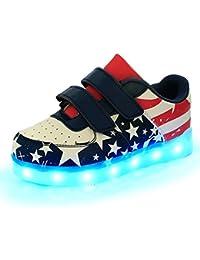iBaste NEW LED niños brillo zapatos infantil con Bandera Nacional talla 25-34
