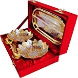 E-Handicrafts Bowl Set Silver Gold Finish Brass Decorative Platter (Gold Silver Pack Of 5)