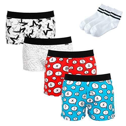 Uomogo - boxer aderenti sportivo da uomo - 100% cottone - mutande - slip - 4 paia + regalo di 3 paia calze (95% cotone/5% elastan)