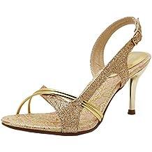 Coolcept Zapatos Mujer Moda Elegant Resplandecer Punta Abierta Boda Fiesta Heeled Sandalias
