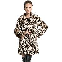 Ovonzo delle nuove donne di stile di media lunghezza Leopard Faux Fur Coat Brown