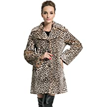 Ovonzo Chaqueta Abrigo de Piel Sintética con Estampado de Leopardo Para Mujer