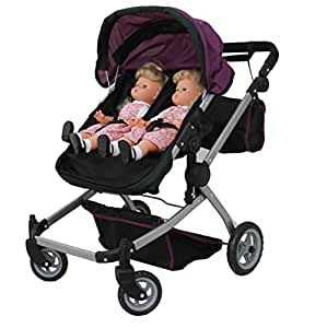 Babyboo Deluxe Twin Doll Pram/Stroller Purple & Black with