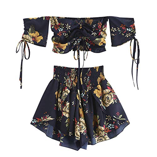 ZAFUL Damen Floral Schulterfrei Smocked Shorts Set Blume Cinched Top Suit Blau M - Cinched Taille Top