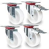 PRIOstahl TR-Set-25 Transportrollen 4 Stück | 2 X Bremse/2 X Lenkrolle | 125mm Kunststoff PP | Weiss | möbelrollen | Apparaterollen