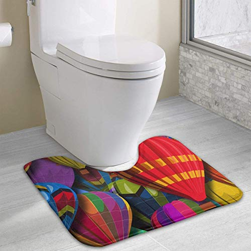 custom u-shaped bathroom carpet hot air balloons non slip floor rug mat bath mat for toilet (15.7 x 19.3 inch)