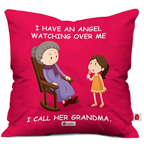 Indigifts Grandparents Special Angel Grandma Red Cushion Cover 12x12 inch with Filler - Best Gift for Grandmother-Grandma-Dadi-Birthday-Anniversary