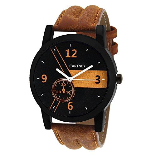 CARTNEY Analogue Black Dial Leather strap multi-colour Men Watch