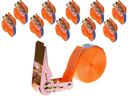 INDUSTRIE PLANET 10 Stück 400kg 6m Spanngurte mit Ratsche orange einteilig 1 teilig Zurrgurte Ratschengurte 25mm 400 daN 0,4t