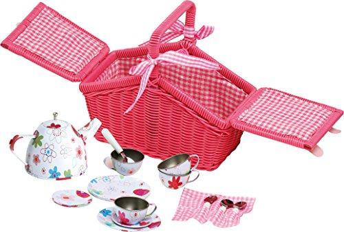 Legler small foot Kinderküchen-Zubehör Picknickkorb Blechgeschirr, 18 tlg ca. 100 x 50 x 7 cm -