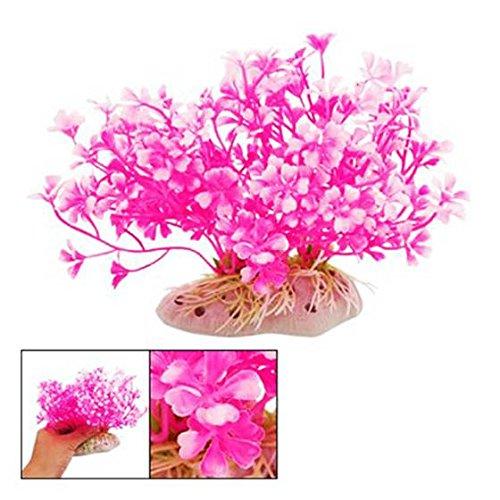 SODIAL(R) Hot pink weiss Zwerg Kunststoff Pflanze Ornament fuer Aquarium Fischtank