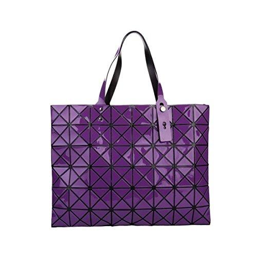 FZHLY Signore Laser Fashion Bag Geometrica Lingge Borsa,Pink DeepPurple
