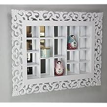 Espejo de rejilla blanco antiguo, estanterías conejera espejo pared de la cabaña, adornos hechos a mano, vitrina de coleccionista de madera