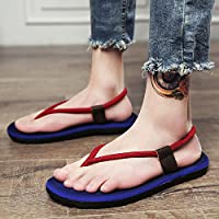 fankou Summer Sandals Men's Men's Field and Trendy Clip Pin Personalized Couples Large Code Beach Slippers,43, Blue (L)