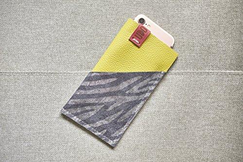 Couture Zebra (Handyhülle, Smartphone Case, Smartphone Ledertasche, iPhonetasche, iPhonehülle in limone und zebra)