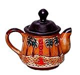 """Purpledip Ceramic Kettle """"Go Go Goa"""": Artisan Handmade Glazed Teapot For Serving Tea or Coffee In Style (10528), 500 ml"""