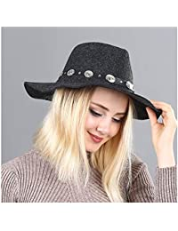 GBY Señoras de las mujeres Ola británica A lo largo de Fedora Sombrero  Cinturón de lana Sombrero de copa Marea Femenina Sombrero de fieltro… 66b181586d4
