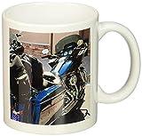 3dRose A Shiny, Sparkly Blue Harley-Davidson Parked Outside in Sunshine in Dixie, Ceramic Mug, 11-Oz