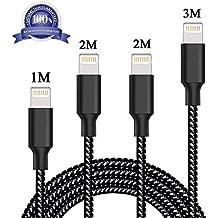 Cable Lightning Belog® 4-Pack 1M 2M 3M Cable iPhone de Carga Lightning a USB Cable Cargador iPhone de Nylon para Apple iPhone 8 / 8 Plus / 7 / 7 Plus / 6S / 6S Plus / 6 / 6 Plus / 5 / 5S / 5C / SE, iPad Pro / Air / Mini, iPod Touch 5/6 ( Negro)