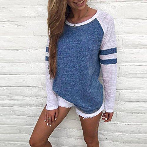 SamMoSon La Camicetta Della Giuntura Della Manica Lunga Delle Signore Delle Donne Di Modo Completa La Maglietta Dei Vestiti Blu