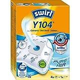 Swirl Y 104 MicroPor Plus Staubsaugerbeutel für Clatronic, Dirt Devil, Zelmer Staubsauger, Anti-Allergen-Filter, 4 Stück inkl. Filter