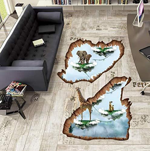 Kreative Inseln 3D Boden Aufkleber Elefanten Giraffe Tiere Wandaufkleber Kunst Wohnkultur Für Kinderzimmer Dekorative Vinyls Für Wand 87 * 74 Cm