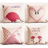 Gabriera Cotone Lino Fenicottero Rosa Decorativo Gettare o un'immagine Cuscino Quadrato custodia...