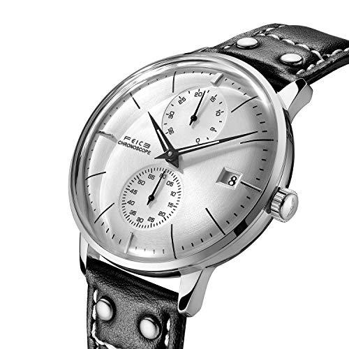Uhr Automatik Mechanische FEICE Armbanduhren Minimalistische Uhr mit Gewölbtes Mineralglas Multifunktions Uhren Silber Zifferblatt Business Armbanduhr Herren Uhren - FM212