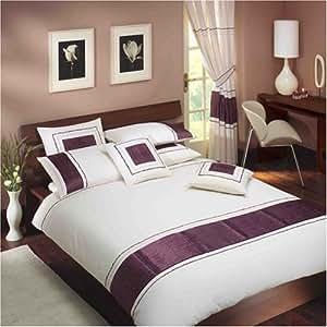 extravagance ivoire parure de lit aubergine double cuisine maison. Black Bedroom Furniture Sets. Home Design Ideas