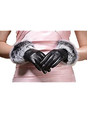 DIDIDD Los guantes de las señoras calientan la pantalla táctil de conducción más gruesa,Negro,Grande