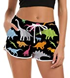 Fanient Women novità Divertente Dinosauro Nuoto Beach Shorts Lato Pocekts Estate Sport Acquatici Surf Tankini Swimswear Bottom Active Slim Fit Pantaloni Yoga Pantaloni M