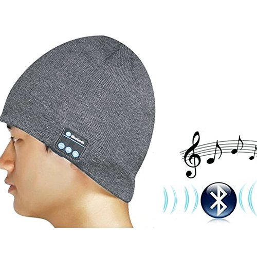 YTAT Cappello auricolare Bluetooth wireless Bluetooth musica di Bluetooth Knit Hat Bluetooth-Cappello per Fitness, ciclismo, pesca, escursionismo, sport all'aperto Beanie Cappellino lavabile Crochet Baggy Bluetooth Beret (grigio scuro)