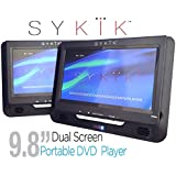 Sykik 9.8' Dual Screen Portable DVD Player With Built-in Rechargeable Battery. For Use In Car
