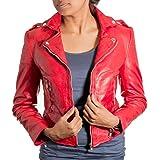 Mujeres Rojo Chaqueta de motorista de cuero real. Polluelo de la roca retro. Cortocircuito de la chaqueta delgada de montaje